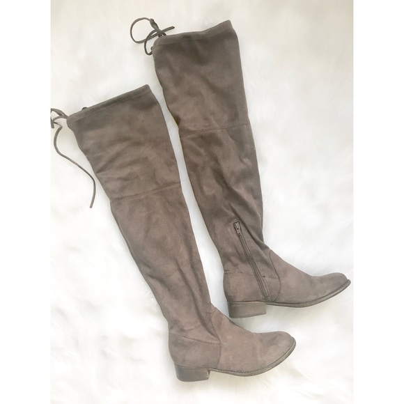 73e07994fe2 American Eagle Outfitters Shoes - Tan Vegan Suede Over the Knee High Boots 6